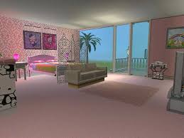 hello kitty bedroom with damask wallpaper room decor and design