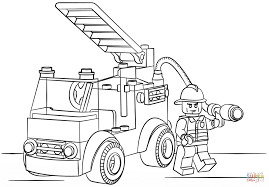 Lego Fire Truck Coloring Page For