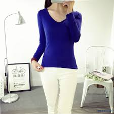 cheap solid color v neck girls women long sleeve t shirts low