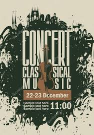 Music Poster For A Concert Of Classical With The Image Violin On Background Splashes And Drops Vector By Paseven