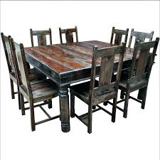 Square Table For 8 Dining And Chairs Set With Large Solid Wood Glass