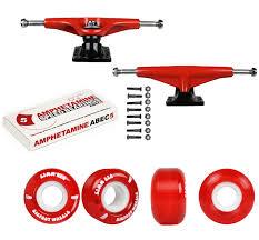 100 Buck Skate Trucks Tensor Board Aluminum Red 525 53mm 83A Red Wheels