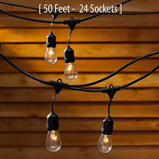 outdoor commercial string globe lights with hanging drop sockets