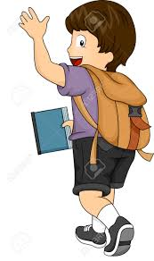 goodbye Side View Illustration of a Kid Boy with Backpack Waving his hands Stock