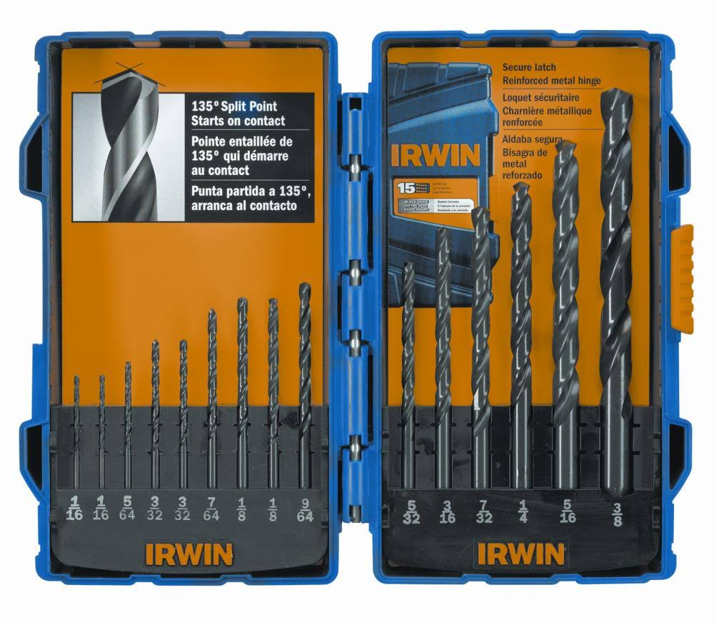 Irwin Tools Drill Bit Set - x15, Black Oxide