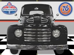 100 36 Ford Truck 1949 FORD F1 CLASSIC TRUCK BLACK CAR GARAGE SCENE FRONT VIEW 3 X 4 BANNER SIGN CAR ART MURAL