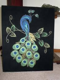 Peacock Wall Decor Hanging Vintage String Art Velvet Backed I Wonder If