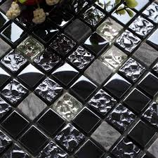 black glass mixed marble square mosaic bathroom wall tiles