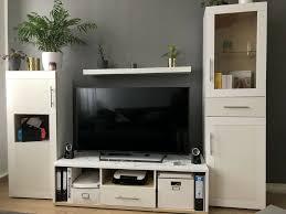 wohnwand anbauwand tv schrank vitrine ikea weiß wohnzimmer