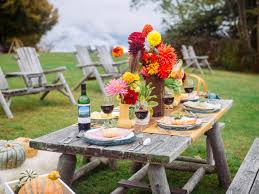Casual Kitchen Table Centerpiece Ideas by Fall Entertaining Idea Farm To Table Dinner Party Hgtv