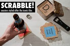 scrabble皰 coasters 54 bar style coasters in an attractive gift tin