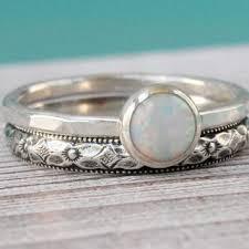 Opal Ring Set Of 2 Sterling Silver Flower Pattern Floral Vintage Style