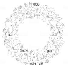 Mère Et Enfants Cuisine Dans La Page De Livre De Coloriage De
