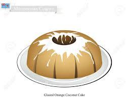 mikronesische küche glasierte orangenkokosnusskuchen oder traditionelle große runde kuchen mit loch innen und spiegelglasur beschichtung eines der