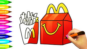 How To Draw McDonalds Burger And Fries Kids Happy Meal