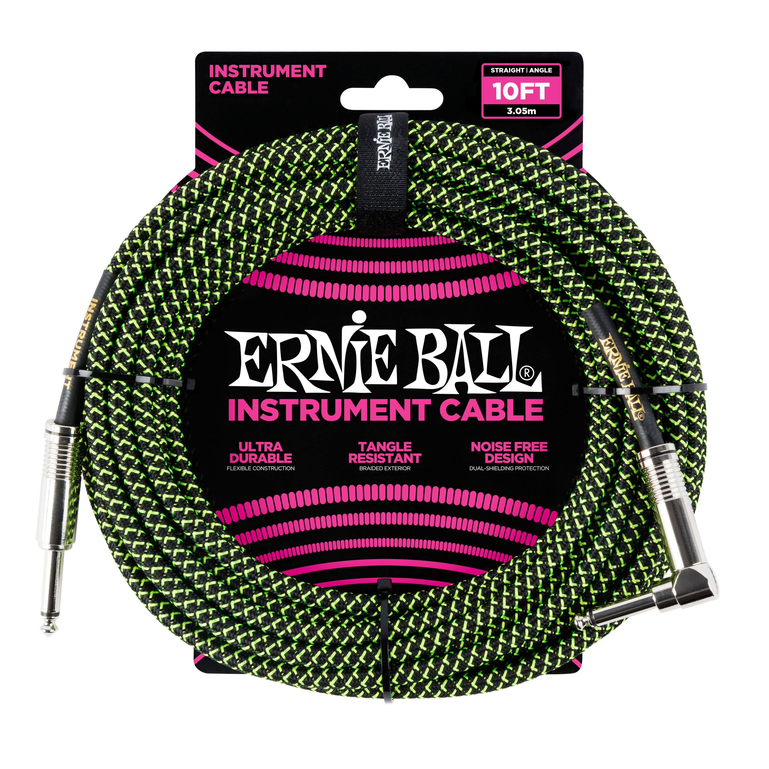 Ernie Ball P06077 Braided Instrument Cable - Black and Green, 3m