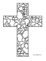 This Is A Bible Coloring Page Of Beautiful Cross Filled With Blooming Easter Lilies These Would Make Wonderful Classroom Decorations If You Cut Them