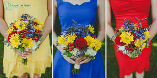 Wedding Primary Colors Bridesmaids Dress Bouquet Red Yellow