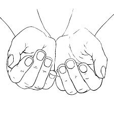 Cupped Female Hands Colouring Page Coloring
