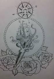 Drawn Compass Ocean 1