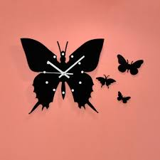 Excellent Chinese Paper Cutting Art Come With Black Color Butterflies And Wall Clock Decor