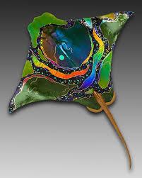 Stunning Glass Art Eagle Ray Karen Ehart Wall
