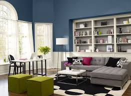 Modern Living Room With Blue Paint Color Scheme Green