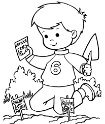 Coloring Pages Printable Spring Kid Planting