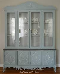 Shabby Chic Dining Room Hutch by Bassett China Cabinet In Persian Blue And Seagull Gray Www