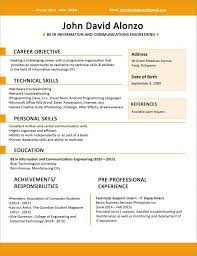 Sample Resume Format For Fresh Graduates One Page
