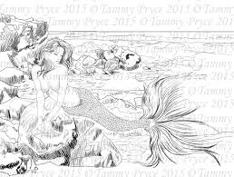 Fantasy Mermaid Adult Coloring Page Digi Stamp Instant Download Printable PDF