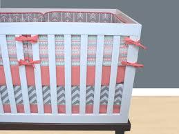 Coral And Mint Crib Bedding by Tribal Crib Bedding Nursery Bedding Set Salmon Mint