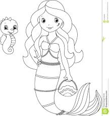 Cartoon Seahorse Coloring Pages Online Page Mermaid Colouring Cute Animals Baby