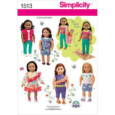 Simplicity Pattern 1513OS One Size Crafts Doll Clothes Products