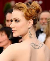 Evan Rachel Wood Upper Back Tattoos