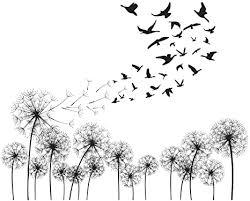 decalmile schwarze pusteblume wandtattoo vögel fliegen im wind wandsticker entfernbarer wandaufkleber wohnzimmer schlafzimmer kinderzimmer