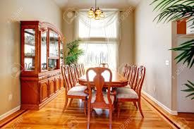 Bright Dining Room With High Ceiling, Hardwood Floor, Antique..
