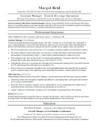 Assistant Manager Resume Template Sample Hotel General
