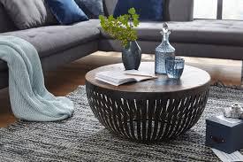 wohnling couchtisch nisha 70x33x70 cm holz metall wohnzimmertisch industrial drahtkorb tisch