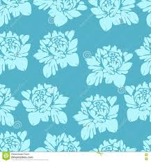 Abstract Flowers In Blue Tones Seamless Pattern Vintage Floral Background Light Buds On