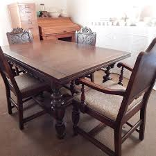 1930s Jacobean Revival Carved Oak Table Chairs