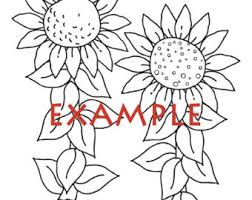 Digi Stamps Line Art Sunflowers Coloring Page Instant Download