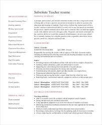 Teacher Job Resume Example Substitute