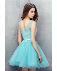 cute sky blue tulle short prom dress yh0110 122 gemgrace com