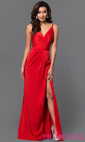 faviana v neck ruched open back floor length dress prom marine