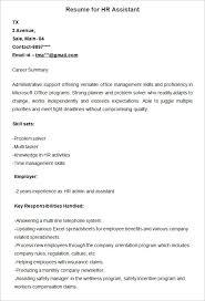 Sample Resume For HR Assistant