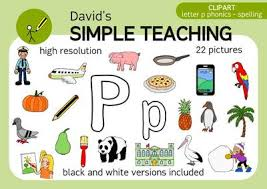 Letter P phonics spelling clipart with free preview