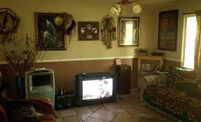 Apartment Inside Poor Cluttered Living Room Southwest Fake Art Dream Catchers Is On Bad Home