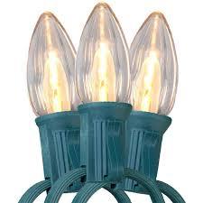 25 warm white led c7 light strand green wire