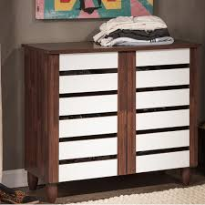 Baxton Studio Shoe Storage by Baxton Studio Gisela White And Medium Brown Wood Storage Cabinet